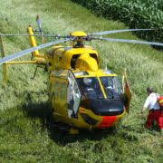 Medic entering an air ambulance during a life flight